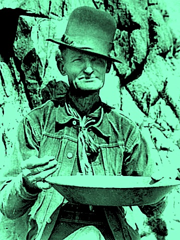old miner panning for gold